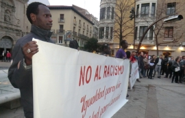 Ciudadanos se manifiestan en Zaragoza contra el racismo el pasado 20 de marzo